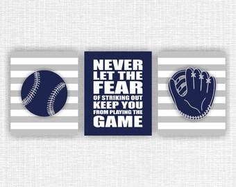 Baseball Sports Boy Nursery Art Print, Baseball mitt, Sports Quote, navy and gray, Boys Printable wall art, Set of 3, 8x10, INSTANT DOWNLOAD