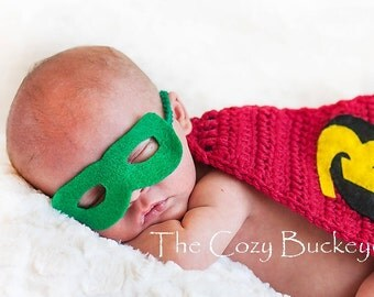 Ready to Ship * Newborn Robin Mask ONLY Halloween Costume Photography Prop  - Other sizes available upon request