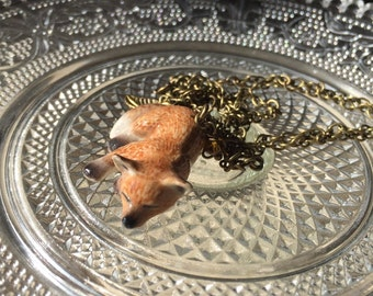 Fox Fox, necklace with porcelain neclace