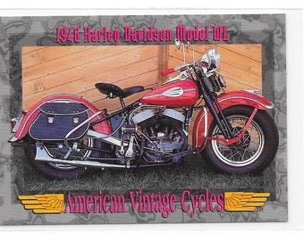 American Vintage Cycles 1946 Harley Davidson Model WL Trading Card from 1993