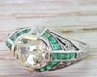 "Art Deco 2.01 Carat Old Cut Diamond ""Emeralds"" Engagement Ring, circa 1935"