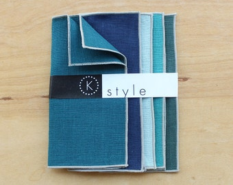 """Lunchbox Napkins in Blues, Cloth Cocktail Napkins, Party Napkins, Assorted Napkins, Lunchbox Napkins, Party Napkins, Set of 5, 7"""""""