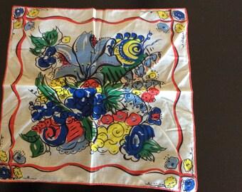 Gaily printed vintage cotton handkerchief
