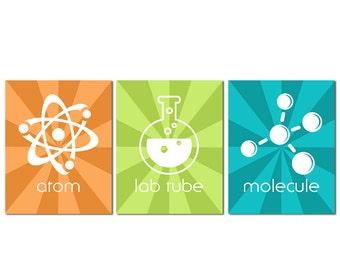 Orange, green and turquoise science wall art print -UNFRAMED- nursery wall art, Lab Geek Art Print Set, Science, Atom, Lab Tube, Molecule