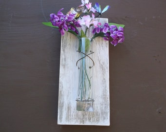 rustic, wall Sconce, Rustic, ,  Vase Sconce, Christmas gift, White Wall Sconce, Flower Vase Sconce, Shabby Chic Sconce, Wood Sconce.