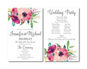 Floral Wedding Program - Country Chic - Watercolor Floral - Floral Wedding - Rustic Wedding - Ceremony Program - Order of Service #CL162