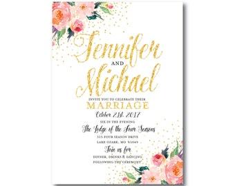 Floral Wedding Invitation - Floral Watercolor - Gold Glitter - Watercolor Flowers - Flowers Wedding - Printable Wedding Invitation