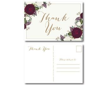 PRINTABLE Thank You Postcard, Printable Thank You Card, Wedding Thank You, Thank You Card, Thank You Postcard, Wedding Postcard #CL178