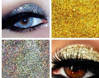 Glitter Eyes Duo Set 3 - Silver & Gold Holographic Eye Shadow Fixing gel Long Lasting