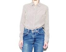 70s Long Sleeve Geometric Printed Blouse, Small 70s Tan Long Sleeve Womens