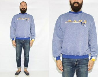 Vintage 90s St. Louis Rams Pullover Crew Sweatshirt St. Louis Rams Football Pullover - Large
