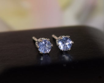 Tanzanite Earrings - 3mm Diamond Cut.  Violet to Light Purple Color.  Sterling Silver, 6-Prong Studs.  Backs+Case, Gift Box Option.