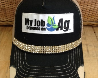 Black & Khaki Hat- Bling- My Job Depends On AG Water Drop Patch- My Job Depends On AG- Landfill Dzine