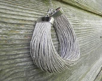 Linen Fiber Bracelet Linen Bracelet Natural Linen Minimalist Jewelry Linen Cord Bracelet Beach Jewelry Eco Style Jewelry Grey Bracelet