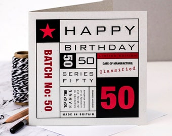 50th Birthday Card; Milestone Birthday; The Big 50; 50th Birthday Card For Husband; Birthday Card For Men; GC140