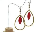 Boucles d'oreilles gouttes rouge, boucles d'oreille longues, cadeaux pour elle, bronze et bordeaux