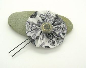 Peak hair flower, Liberty Lauren black and white, pic to black and white, accessory styling wife bun