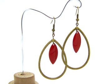 Earrings drops red earrings long, gifts for her, bronze and Burgundy