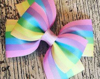 Handmade Pastel Rainbow Hair Bow Clip