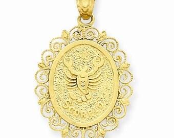 14K Solid Yellow Gold Scorpio Zodiac Horoscope Oval Pendant Charm LKQC2850