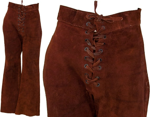 1960s Medium Pants Leather Suede Calf Brown BuckSkin Bell Bottom Boot Cut Unisex Mens Womens 29 30 Inseam Waist 29x30 Boho Hippie Bohemian