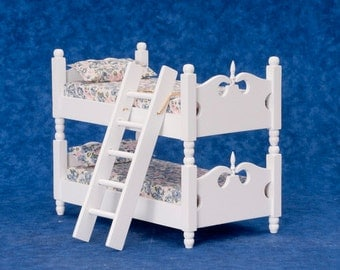 Dollhouse Miniature 1:12 Scale White Bunkbed with Ladder #T5247