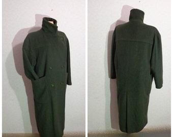 dark Green Coat Womens wool coat,Large Size