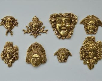 Set of 8 antique style solid brass furniture mounts