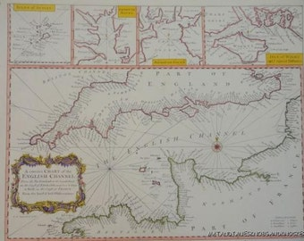 Old copy of map marine chart of the English Channel 1700s