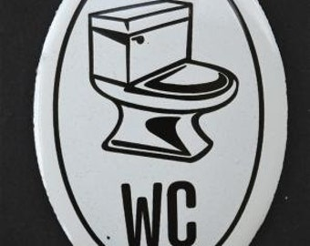 Small antique style enamel metal WC sign