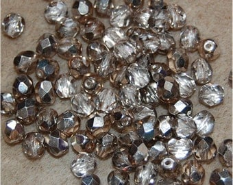 FIRE POLISH BEADS, a mix of 2 sizes, Apollo Black Diamond, sold in units of 50 @ 6mm and 100 @ 4mm, a total of 150 fire polish beads.