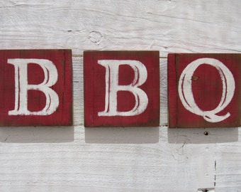 BBQ Sign Barbecue Blocks Rustic Reclaimed Wood Country Kitchen Decor Hand Painted