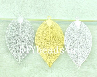 Filigree Leaf-- Silver Leaf Pendant-- Nature Inspired Jewelry -- Large Leaf-- Large Silver Pendant-G1868-1