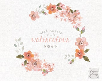 Watercolor wreath: hand painted floral wreath clipart / Wedding invitation clip art / commercial use / Peach blossom / CM0063a