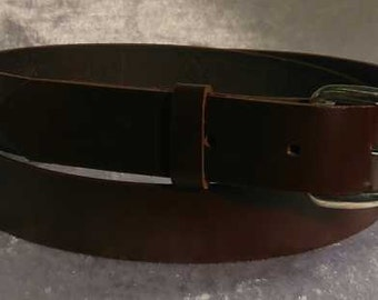 Brown leather belt with 1 inch nickel buckle Made to Order