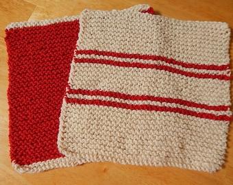 Knit Dishcloths, Hand Knit Dishcloths, Knitted Dishcloths, Dishcloth Set, Red Dishcloth, Striped Dishcloth, Kitchen Cloths