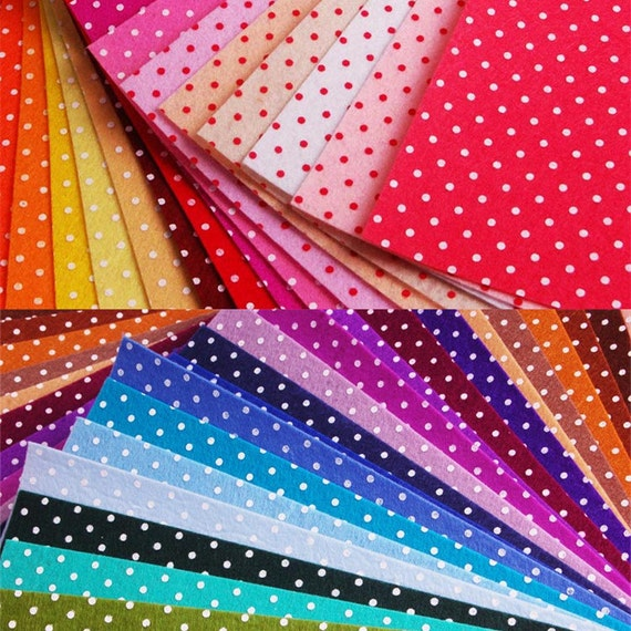 11 8x11 8 inch 30pcs mix colors 1mm thick polka dot printed for Polka dot felt fabric