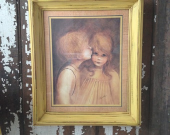 Margaret Kane Print, Framed, From the 1960's, A Little Kiss, Mid-Century Art, Boho Chic, Art for Child's Room