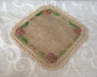 Set of 4 Vintage Hand Embroidered and Crocheted Linen Coasters/Shabby Chic/Cottage Chic