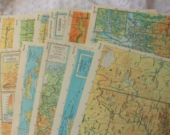 Set of 15 Atlas Pages - Encyclopedia Atlas - Map pages - vintage atlas -