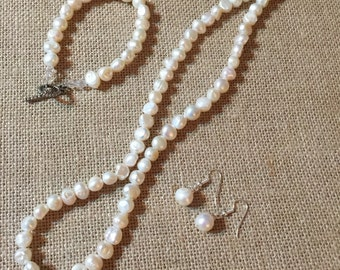 Pure Trio. Three Piece White Fresh Water Pearl Set. Necklace, Bracelet and Earrings.