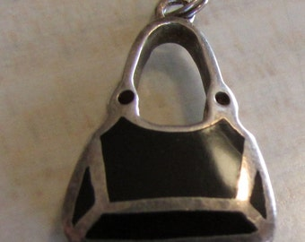 Ladies Sterling Silver Handbag Pendant or Charm With Black Inlay
