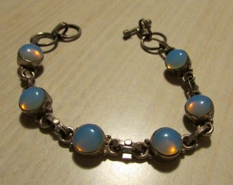 Sterling Silver and Opal Like Glass Stones Link Bracelet