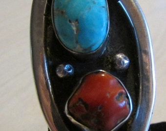 Sterling Silver Coral and Turquoise Ring  Size 6 3/4