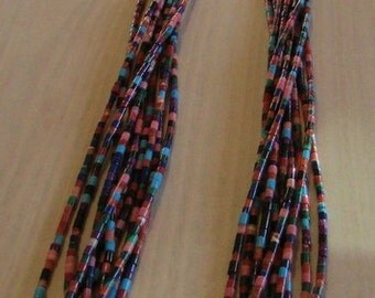 Multicolor Heshi 10 Strand Necklace with Squaw Wrap
