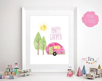 Children's Wall Art / Nursery Art Print / Happy Camper / Art for Girls Room / Wall Art for Kids / Kids Room Decor / Instant Download