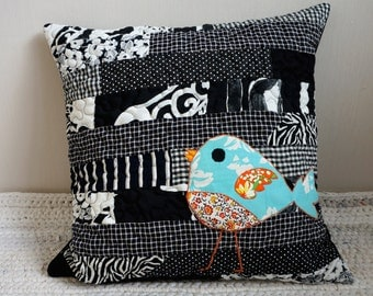 Black and White  Cushion, Decorative Pillow Cover, Throw Pillow,  Patchwork Pillow, Bird Pillow Cover, Unique Sofa Pillow Case,Bedroom Decor
