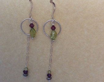 Peridot and Amethyst Earrings