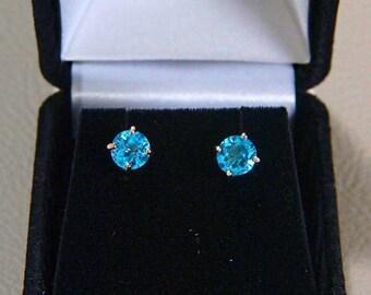 2.00 Carat Swiss Blue Topaz Stud Earrings