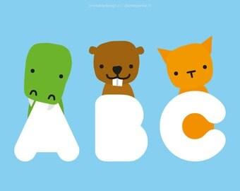 Animal alphabet print printable